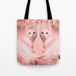 """""""Pink Pastel Doppelganger Cats at the Garden"""" Tote Bag"""