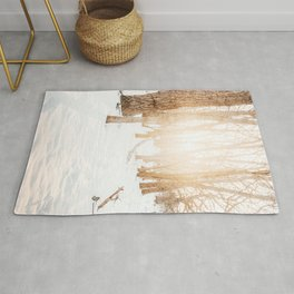 Atmospheric Winter Forest Photo | Winter Photography | Snow In Forest With Sun In Background Rug