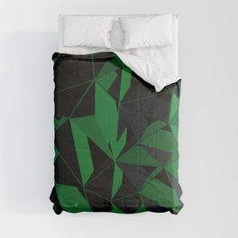 3D Futuristic Geometric Background (Green) Comforters