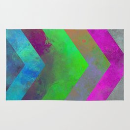 Textured Direction - Abstract, multi coloured, geometric painting Rug
