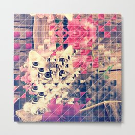SWEET KITTEN WITH FLOWERS (TRIANGLES) Metal Print