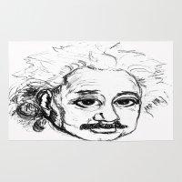 einstein Area & Throw Rugs featuring Chibi Einstein by Hazel Bellhop