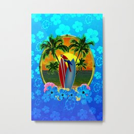 Blue Flowers Tropical Sunset Metal Print