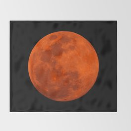 Orange Moon Throw Blanket