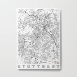 Stuttgart Map Line Metal Print