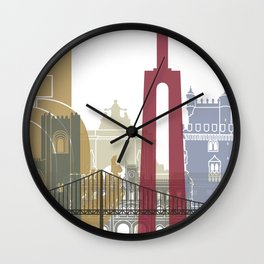 Lisbon skyline poster Wall Clock