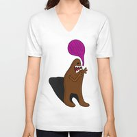bigfoot V-neck T-shirts featuring Sandy Bigfoot by Chelsea Herrick