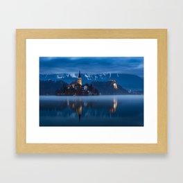 Bled lake at blue hour Framed Art Print