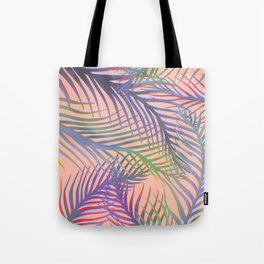Palm Leaves Pattern - Purple, Peach, Blue Tote Bag