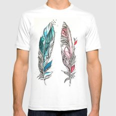 You & Me Feathers MEDIUM Mens Fitted Tee White