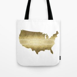 US map gold foil Tote Bag