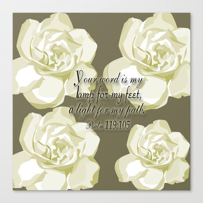 Scripture Gray,White Rose Canvas Print