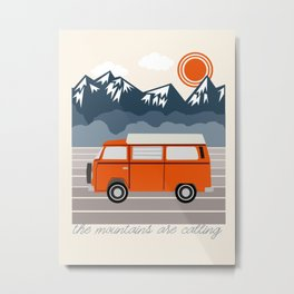 Van Life III - mountains van road tripping travel camping bus RV art Metal Print