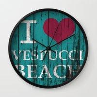 grand theft auto Wall Clocks featuring Los Santos I love Vespucci Beach Grand Theft Auto by KeenaKorn