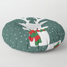 Reindeer in a snowy day (green) Floor Pillow