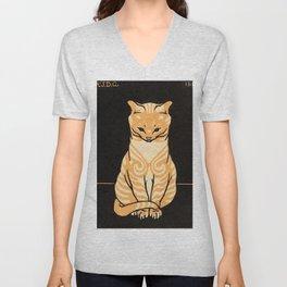 """1918 """"Cat Poster"""" by Julie de Graag Unisex V-Neck"""