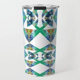 Diamond Geometric Intricate Beauty Green & Blue Travel Mug