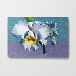 White Orchid Over Water Metal Print