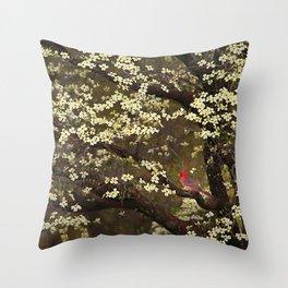 The Dogwoods and the Cardinal Throw Pillow
