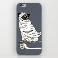 return iPhone & iPod Skins featuring The Mummy Pug Return by Huebucket