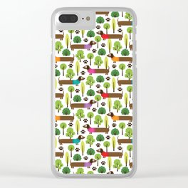 Dachshunds On A Walk In The Park Clear iPhone Case