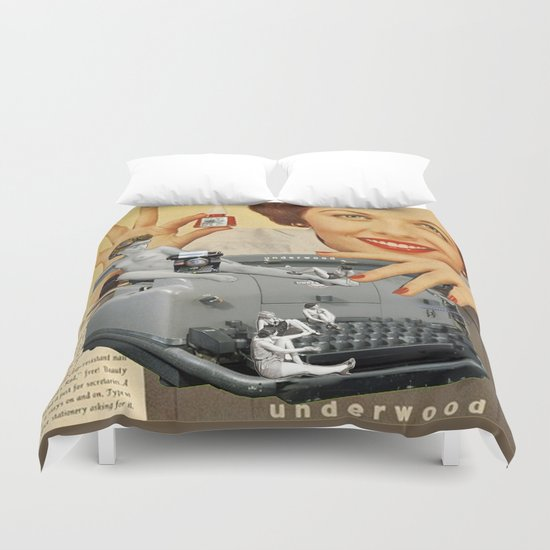 Friday Night in the Typing Pool Duvet Cover