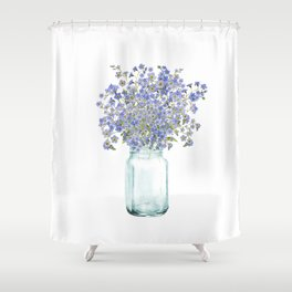 Hand Painted Scandinavian Watercolor Forget Me Not Bouquet Shower Curtain