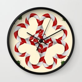 CREAMY YELLOW  RED-WHITE PINK  CHRISTMAS CANDY CANES Wall Clock