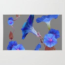 Grey Color Blue Morning Glory Art Design Pattern Rug