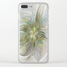 Floral Fantasy, Abstract Fractal Art Clear iPhone Case