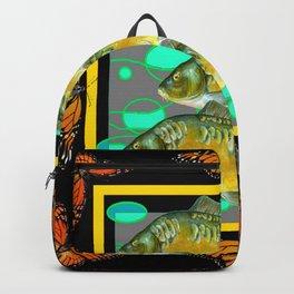 MODERN  MONARCH BUTTERFLIES FISH BLACK  AQUATIC  COLLAGE Backpack