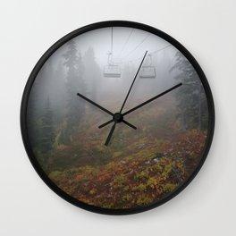 Foggy mountains fall morning Wall Clock