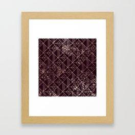 Art Deco Wine Red Gold Geometric Retro Pattern Framed Art Print