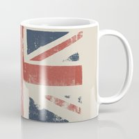 union jack Mugs featuring Union Jack by David Hand