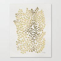golden Canvas Prints featuring Gold Ivy by Cat Coquillette