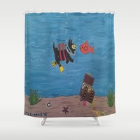 scuba Shower Curtains featuring Scuba Scottie by Mary Louise Simmons