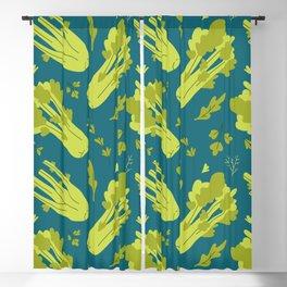 Hand drawn flat illustration of celery vegeteble. Cute cartoon pattern of vegetarian food Blackout Curtain