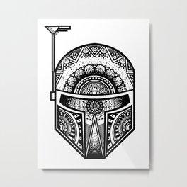 Mandala Boba Fett - Black. The baddest bounty hunter in the land. Metal Print