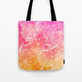 Modern summer pink orange sunset watercolor floral hand drawn illustration Tote Bag