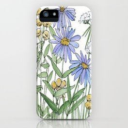 Asters and Wild Flowers Botanical Nature Floral iPhone Case