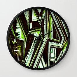 Green Glitch Graffiti Wall Clock