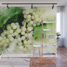 Green Grapes Watercolor Wall Mural