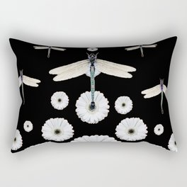 SURREAL WHITE DRAGONFLIES FLOWERS BLACK COLOR PATTERNS Rectangular Pillow