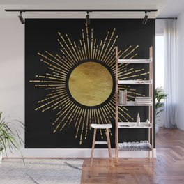 Golden Sunburst Starburst Noir Wall Mural