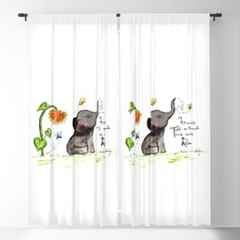 Friends are Loved by All - Baby Elephant Sunflower Butterflies Art by Annette Bailey Blackout Curtain