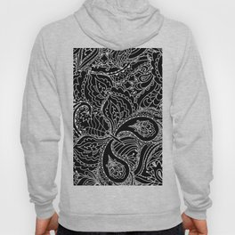 Hand painted abstract black white watercolor floral butterfly Hoody