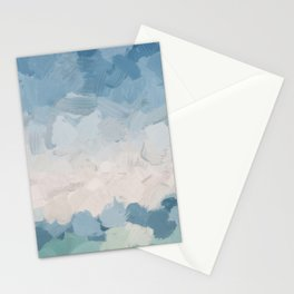 Mint Blue Aqua Sky Ocean Abstract Art Painting Clouds Water Waves Stationery Cards
