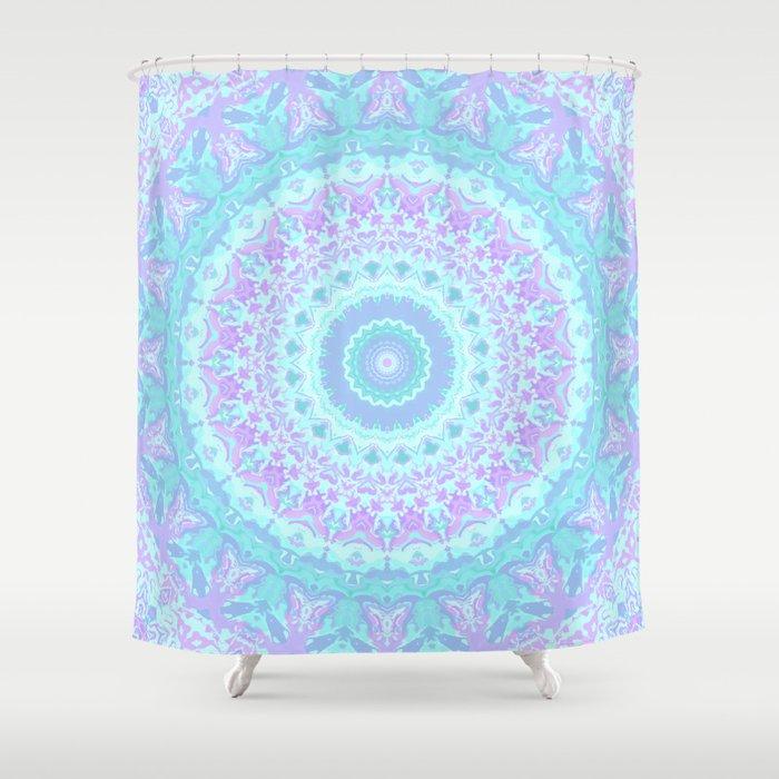 Cyan Turquoise And Purple Kaleidoscope Shower Curtain
