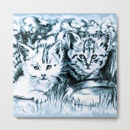 Blue Baby Cats Metal Print