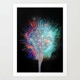 Flower Of Life Rainb-urst Art Print